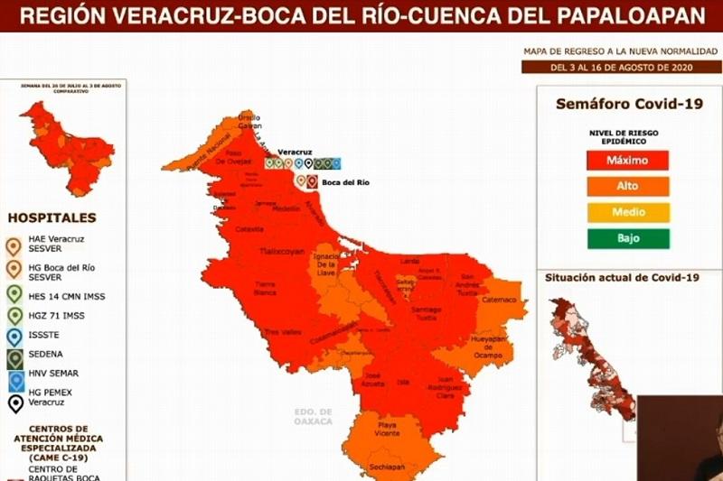 VERACRUZ, BOCA, MEDELLÍN Y ALVARADO CONTINÚAN EN SEMÁFORO ROJO DE RIESGO COVID