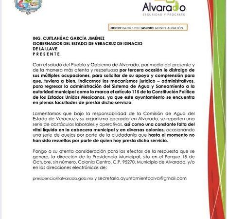 BOGAR PIDE A CUITLÁHUAC DEVOLVER SERVICIO DE AGUA POTABLE AL AYUNTAMIENTO DE ALVARADO