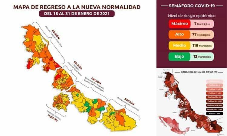 ISLA Y CATEMACO A SEMAFORO NARANJA POR COVID, COSAMALOAPAN A AMARILLO